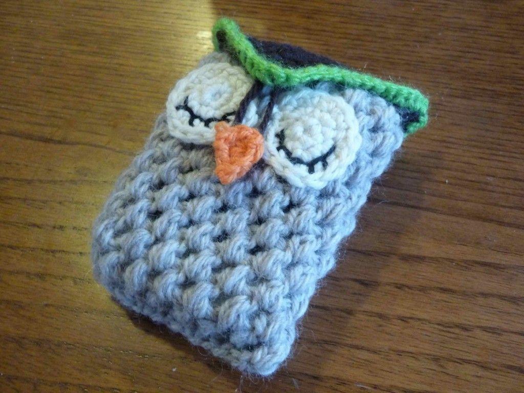 gufo owl portacellulare uncinetto crochet 2