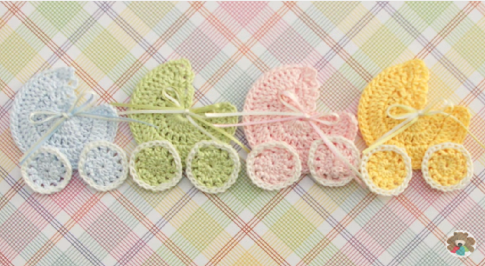 Crochet-baby-stroller-applique