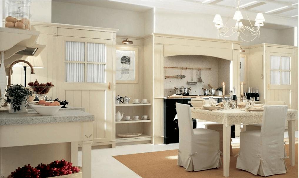 Cucina shabby rivestita interamente legno for Case in stile cottage