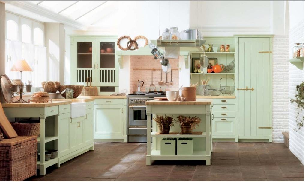 Cucina shabby verde chiaro1 - La cucina verde ...