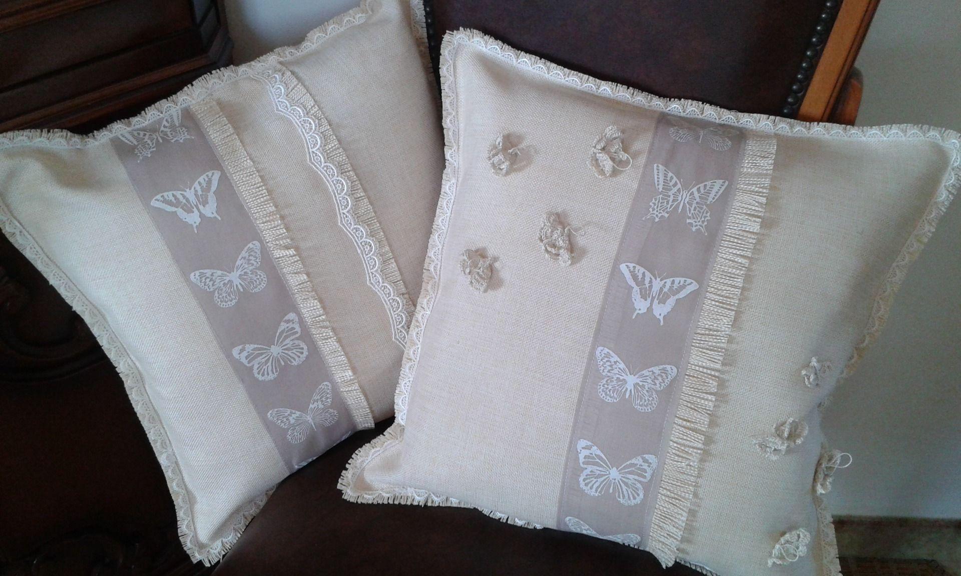 tessili e tappeti cuscini shabby chic in tela di lino