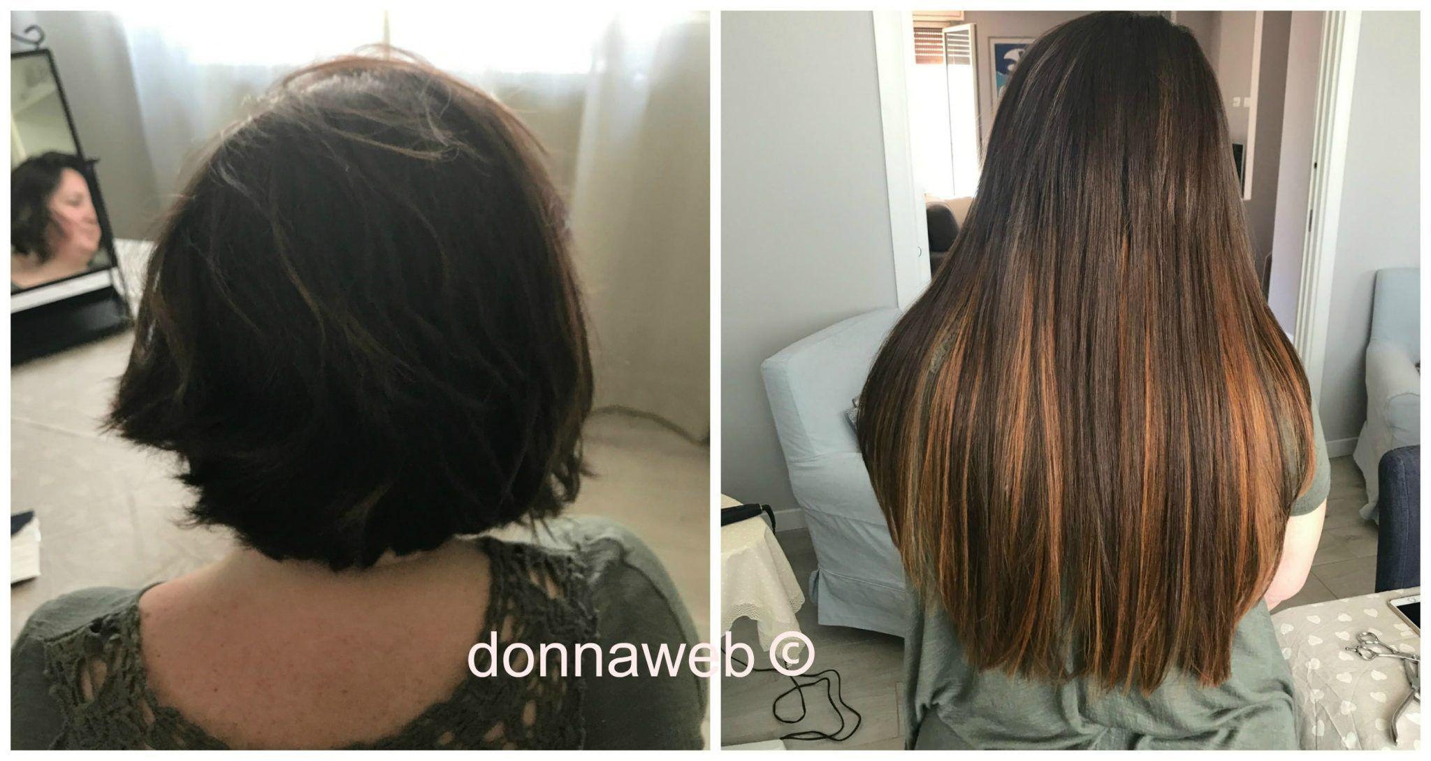 Capelli con extension prima e dopo