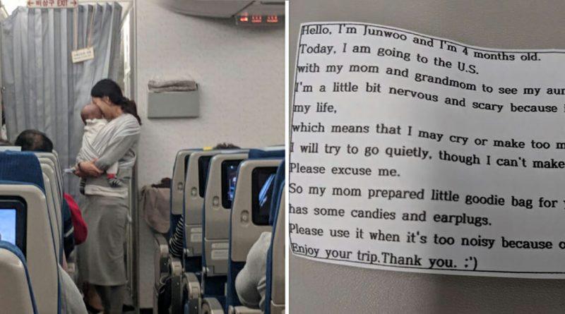 La madre porta in aereo la figlia di 4 mesi – Quando inizia a distribuire dei bigliettini i passeggeri restano senza parole dal contenuto scritto….