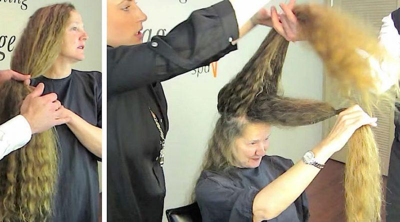 """Teneva i """"riccioli d'oro"""" da 20 anni – Guarda la trasformazione dopo aver tagliato 1 metro di capelli!"""