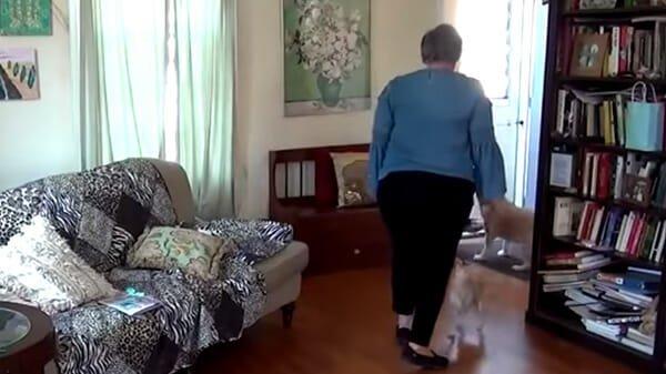 la donna cammina verso il divano