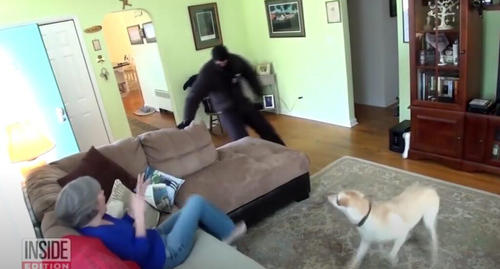 il ladro mentre attacca la donna, simulazione del test